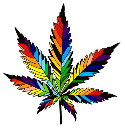 isolated rainbow vector cannabis leaf Vectores