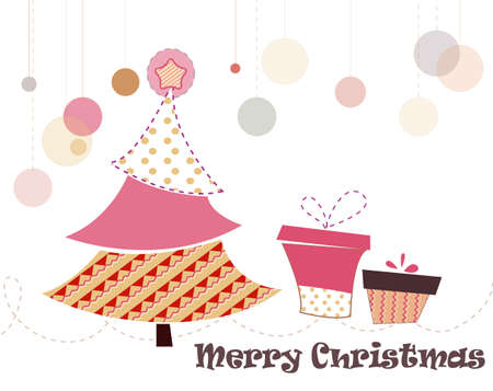 cinematographer: christmas tree decorating with seamless patterns Illustration