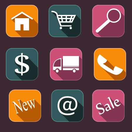 gift basket: set of flat shopping icons