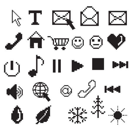 pixel art icons in black and white Vector