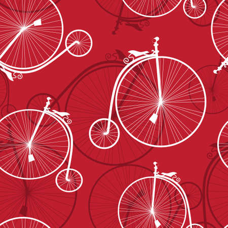 Seamless pattern with old-styled bicycles on a red background Vector