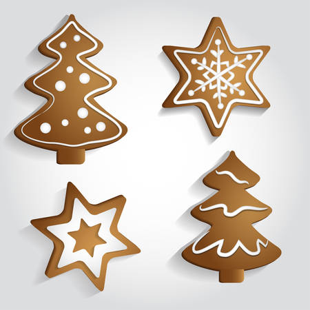 christmas cookie: Ginger Stars and Christmas Trees with decorations Illustration