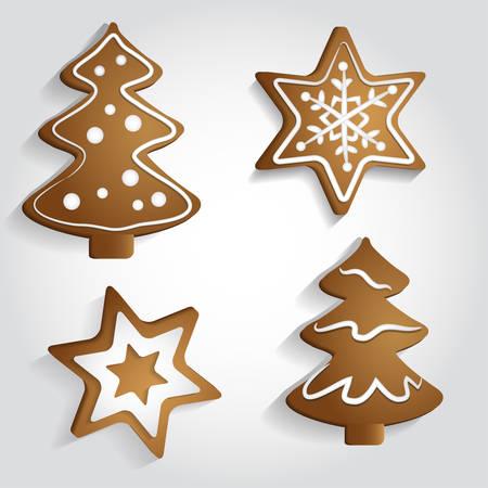 weihnachtskuchen: Ginger Sterne und Weihnachtsb�ume mit Verzierungen Illustration