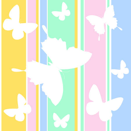 butterfly simple seamless pattern on color background for kids