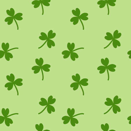 light green background: clover leave seamless green pattern on a light green background