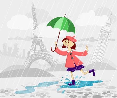 French girl with umbrella running under rain