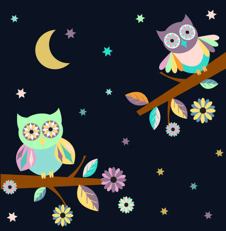 moon  owl  silhouette: EPS 10: Dark shadow silhouette of an owl with yellow eyes, perched on branch on a night with full moon, perfect for halloween.