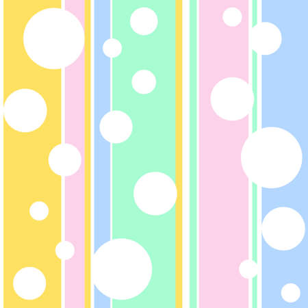 seamless wallpaper with white bubbles on a stripe background Stock Illustratie