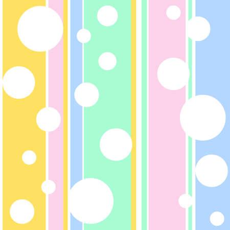 seamless wallpaper with white bubbles on a stripe background Ilustração