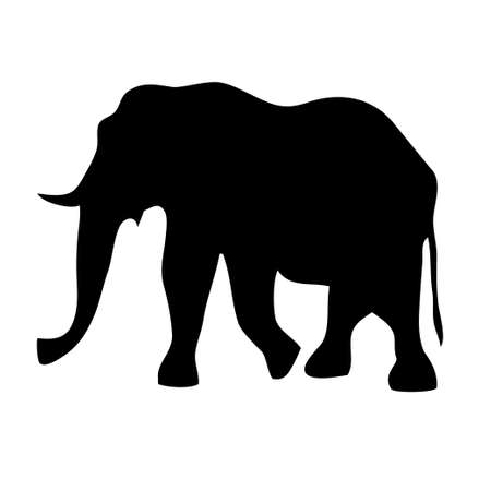 silhouette of black elephant on a white background  イラスト・ベクター素材