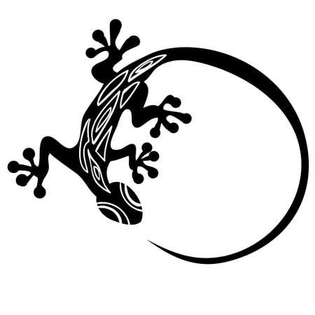 Black lizard on a white background  イラスト・ベクター素材
