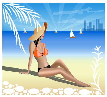 nude outdoors: a girl on a beach. Vector illustration