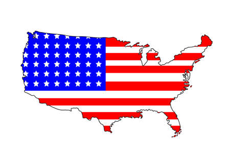 USA map with flag on a white background Çizim