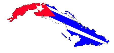 Cuba map with flag on a white background Ilustração
