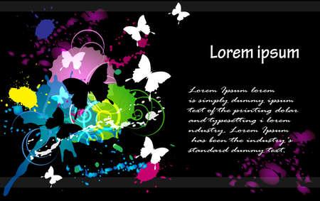 an inkblot white butterfly business card black