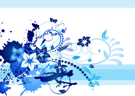 an inkblot white business card with blue swerls and inkblot