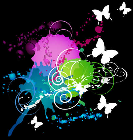 white butterflys and swirls on a inckblot colorful background