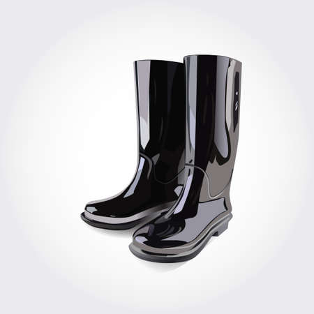 black rubber boots on a white background