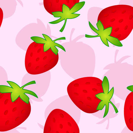 raspberry pink: seamless pattern with strawberry on a pink backgrownd