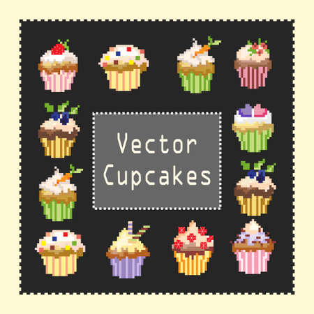pixeled vector cupcekes on a gray background