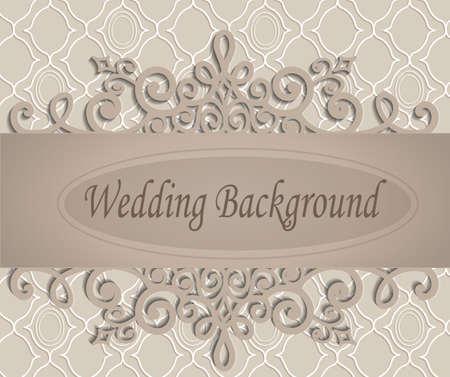 beige bruiloft achtergrond met een retro patroon