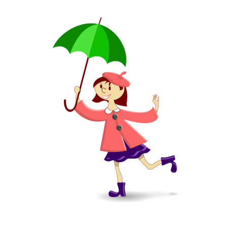 health cartoons: a girl with green umbrella on a white background Illustration