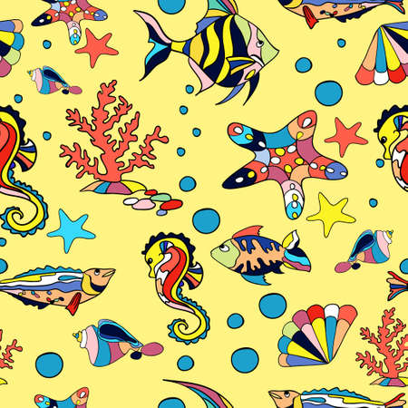 yelow: Sea seamless pattern with fish starfish and corals in yelow
