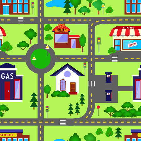 City seamless pattern in colors with trees is repetitive texture with hand drawn houses. Illustration is in eps8 vector mode.
