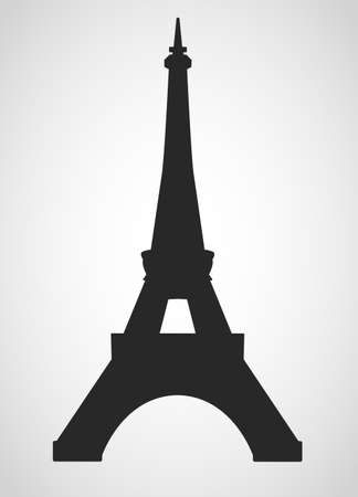 Eiffel tower black on a white background illustratin Çizim