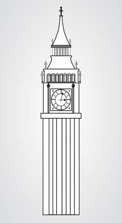 houses of parliament: big ben clock in England on a white background Illustration