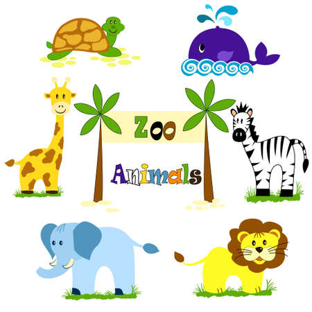 lion and lamb: Vector illustration of cute animal setanimals for zoo