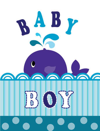 whale baby: vector baby shower card with blue baby whale for boys Illustration