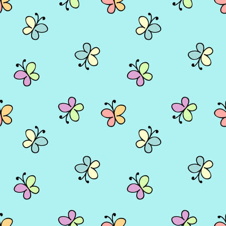 childlike: seamless childlike pattern. vector illustration in blue
