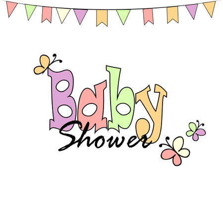baby toy: Baby shower invitation card on white background