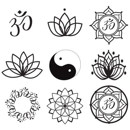om symbol: Vector Set Yoga Labels and Icons Illustration