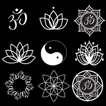 om: Vector Set Yoga Labels and Icons on black Illustration