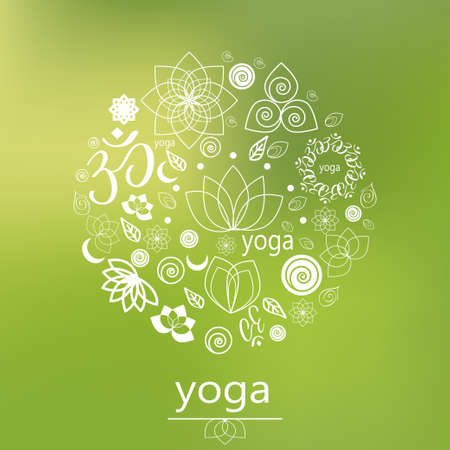 chakra: graphic design elements in outline style for spa center or yoga studio Illustration