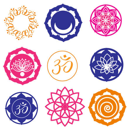 om: Vector Set Yoga Labels and Icons in colors