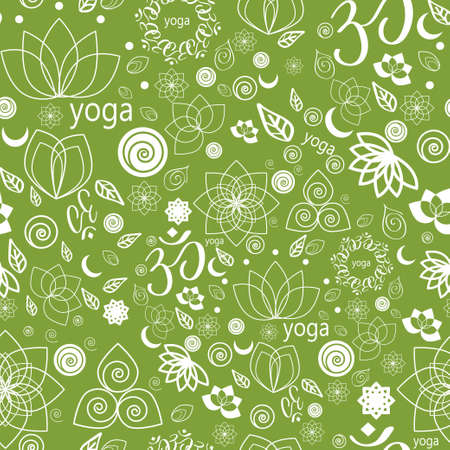 chakra: Vector Set Yoga Labels and Icons seamless pattern in green Illustration