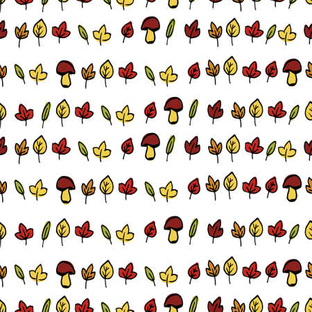Autumn leaves seamless background hand drawn on white