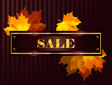 gold leafs: Vector fall sale poster  illustration with colorful leafs and gold text