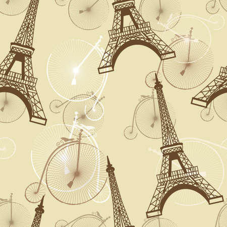 pattern with the Eiffel Tower and bicycles vector