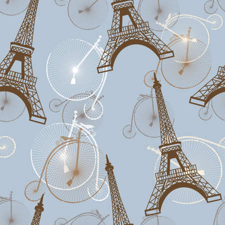 pattern with the Eiffel Tower and bicycles vector in blue