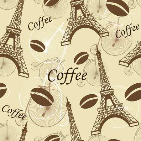 seamless pattern Paris with tower Eiffel and coffee Ilustracja