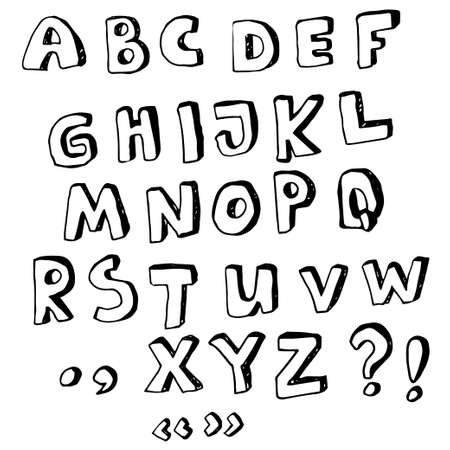 Vector hand drawn alphabet uppercase and punctuation