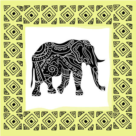 style: Vector illustration of a tribal totem animal Elephant  in graphic style