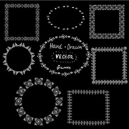 Set of circle polynesian tattoo styled frames on black background