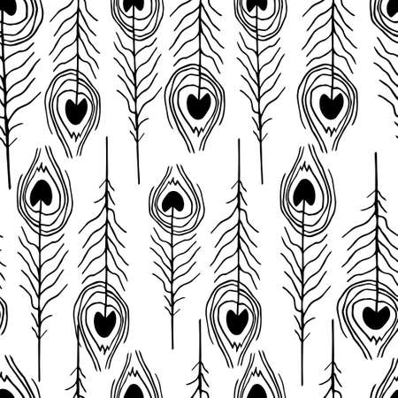 lightweight ornaments: seamless feather patterns hand drawn on white Illustration