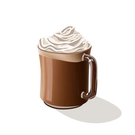 Coffee drink Cafe Mocha in a glass mug