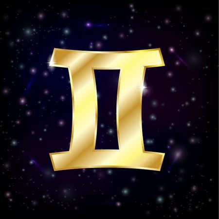 Gemini zodiac sign on a star sky background